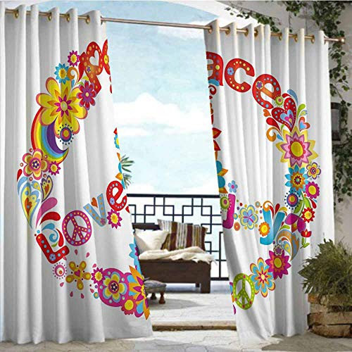 Qenuan Outdoor Grommet Window Curtain 70s Party Decorations,Peace Sign Colorful Flowers Rainbows Love and Joy Festive Composition,Multicolor,Outdoor Curtain Set for Patio Waterproof 84