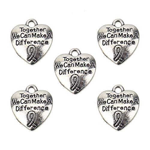 (JETEHO 20 Pcs Ribbon Heart Shape Awareness Cancer Charms We Can Make A Difference Charm Cancer Support Awareness)
