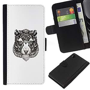 YiPhone /// Tirón de la caja Cartera de cuero con ranuras para tarjetas - Tribal del tatuaje del tigre - Sony Xperia Z2 D6502