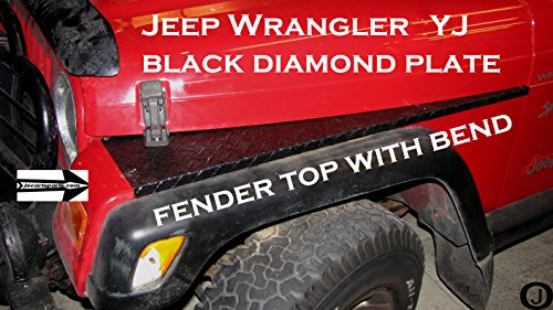 Jeep YJ Black Diamond Plate Full Top Fender Covers with Bend