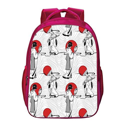 Asian Lightweight School Bag,Japanese Geisha Girl with Traditional Kimono Folk Culture Style Modern Artful Image for Kids Girls,11.8