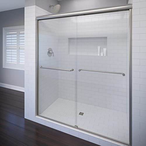 Basco CELH05A6071XPBN Celesta Semi-Frameless Sliding Shower Door fits 56 -60 Opening with 3 8 AquaGlideXP Clear Glass, Brushed Nickel Finish, A0583-60XPBN