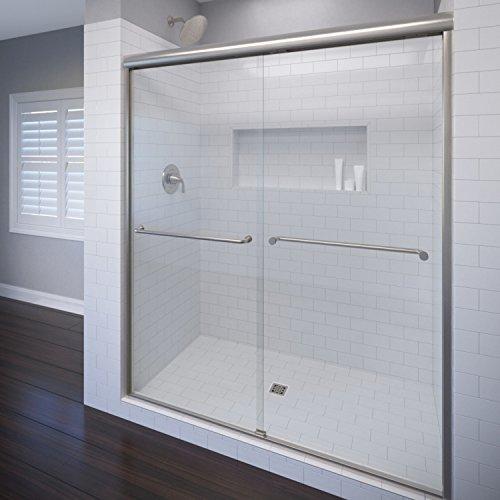 (Celesta Semi-Frameless Sliding Shower Door,Fits 44-48 inch opening, AquaglideXP Clear Glass, Brushed Nickel Finish)