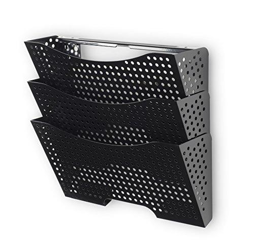 Hanging Wall File Folder System (Wall File Holder Organizer Metal Modern Modular Design Metal 3 Storage Level Folders White Steel Durable Construction Black)