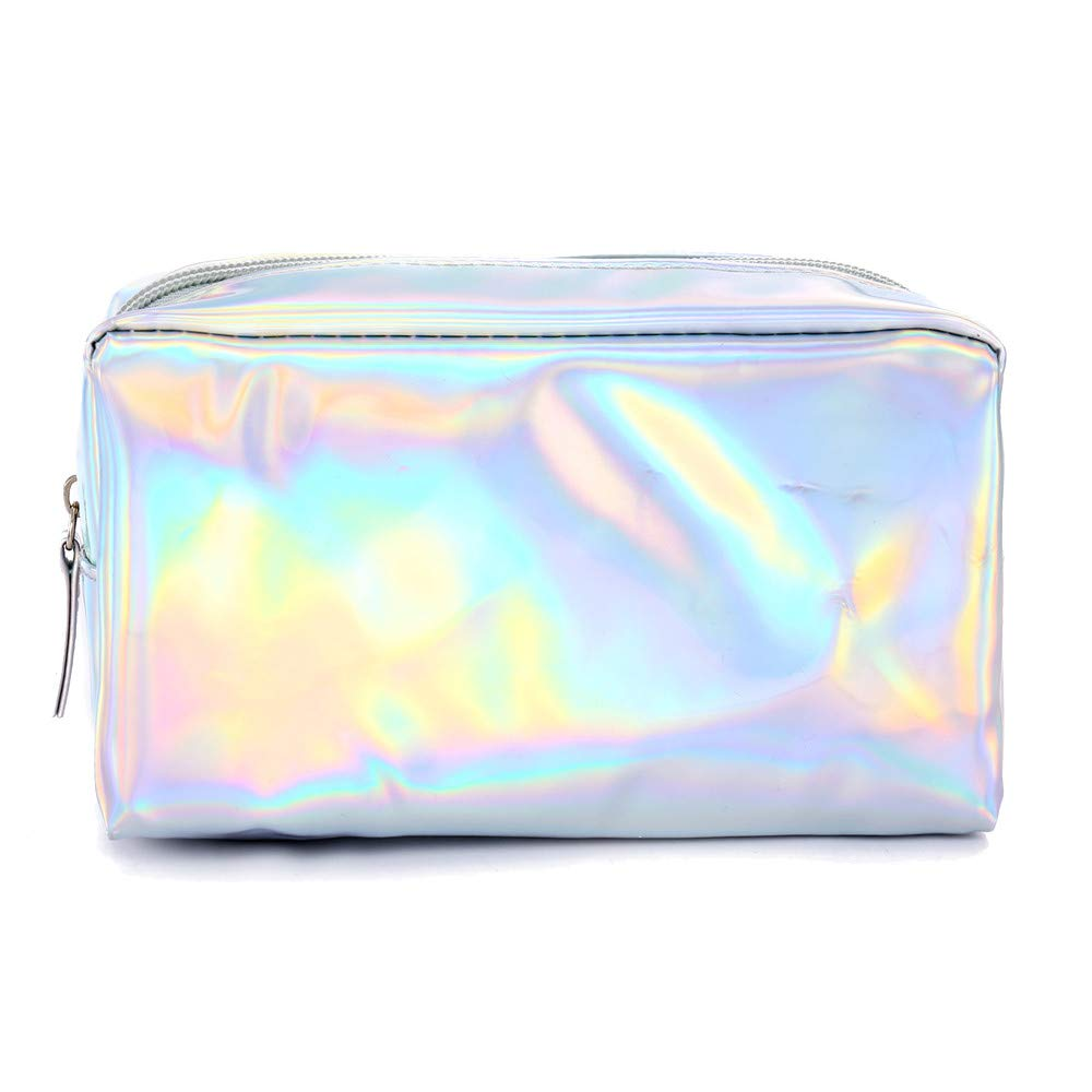 Sikye PU Pencil Case, Zipper Large Capacity Storage Pens Pouch Bag Travel Laser Cosmetic Bag Carrying Case (Silver)