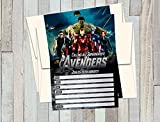 12 AVENGERS Birthday Invitations (12 5x7in Cards, 12 matching white envelopes)