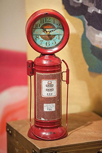 Manual Woodworker Retro Style Gas Pump Table Clock Metal Construction