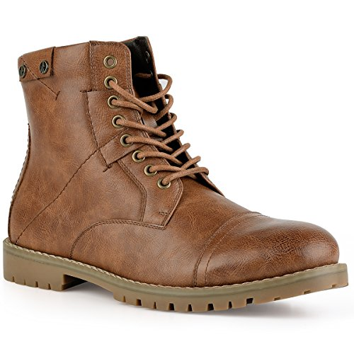 PIQYDNA Men's Leather Dress Boots Stylish Cap Toe Combat Boots Brown - stylishcombatboots.com