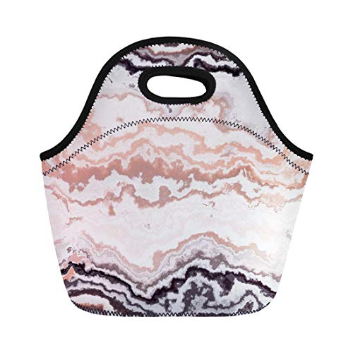 Semtomn Neoprene Lunch Tote Bag Brown Agate Gem Stone Pattern Aluminosilicate Apricot Calcite Chalcedony Reusable Cooler Bags Insulated Thermal Picnic Handbag for Travel,School,Outdoors, Work