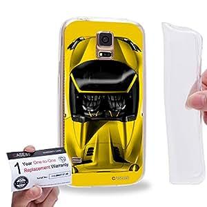 Case88 [Samsung Galaxy S5] Gel TPU Carcasa/Funda & Tarjeta de garantía - Art Design Yellow Sport Car 1304