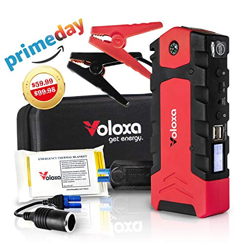 - VOLOXA -NEW 2019- Super Safe Portable Car Jump Starter 15000 mAh 600A Peak, Booster Battery Charger with Smart Charging Port. Special Bonus Emergency Thermal Blanket & Cigarette Lighter Adapter