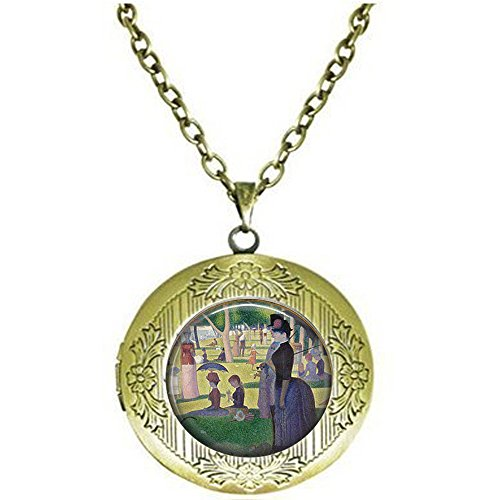 Georges Seurat's A Sunday Afternoon on The Island of The Grande Jatte- Classic Art Lover Gift - Seurat Pendant - Seurat Locket Necklace -