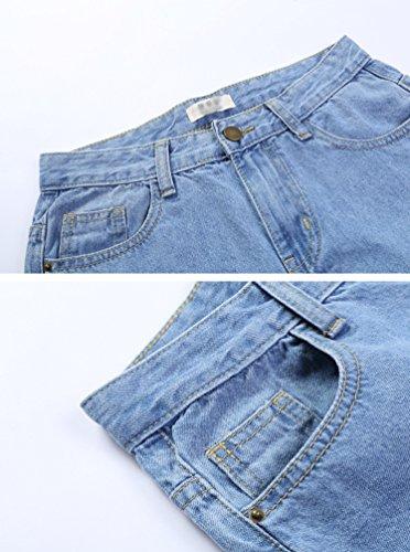 Grandi Casual Larghi Pantaloni Vita Alta Retrò Donne Dritta Gamba Moda Dimensioni Chiaro A Lihaer Di Jeans Blu 0TI6fw
