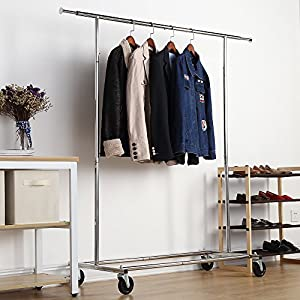 Adjustable Commercial Garment Rack with Rolling Wheel, Housen Solutions