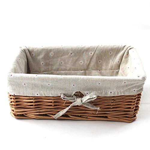 KINGWILLOW, Storage Basket, Natural Wicker Storage Bins Rectangular Basket,Arts and Crafts.