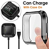 KIMILAR Screen Protector Case Charger Compatible Fitbit Versa, TPU Plated Full Coverage Bumper Replacement case Unique Charger Dock Charging Cable (Can Charge Case On) Black