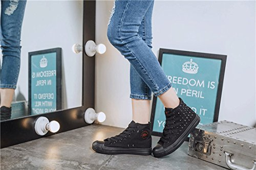 Heel Sneakers Gothic Shoes Emo Canvas Flat Shoes Shoes Punk Women's and Canvas Fashion Men's Sports Help Black Fashion High Casual All Retro Lace YB Rivet Rock up 6xSfHWq