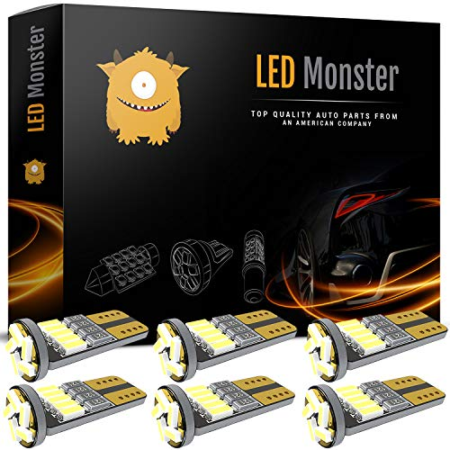 LED Monster 6pcs T10 Wedge Best Value Super Bright High Power 3014 15-SMD 194 168 2825 W5W White LED Bulb Lamp for Car Truck Interior Dome Map Door Courtesy License Plate Lights