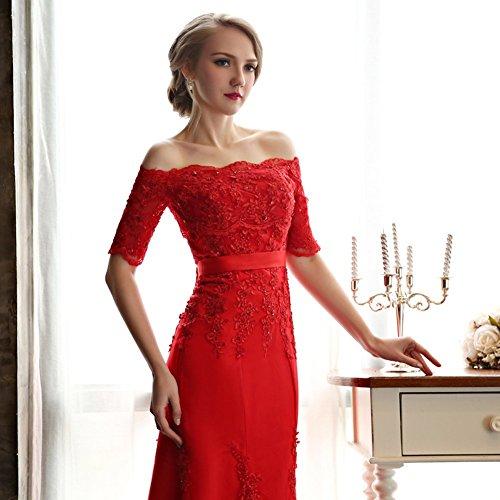 Longue Bustier Rouge Femmes Besswedding De Robes De Bal Sirène Épaule Rouge