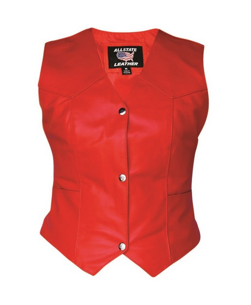 Lady Pirate Plain Red Genuine Leather Vest - DeluxeAdultCostumes.com