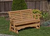 Amish Heavy Duty 800 Lb Roll Back Pressure Treated Porch Patio Garden Lawn Outdoor GLIDER with cup holders-5 Feet-BROWN-Made in USA