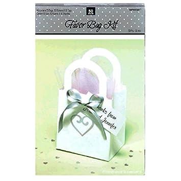 Amscan 340328 Heart Wedding Favor Bag Kit 3 1//2 x 3 White