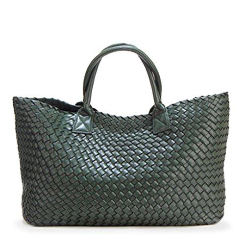 Basket Tide Capacity Bales green Hand Large Shoulder BOBOMIMI Woven Bag Shopping dark Handbags Winter RWOnvn8S