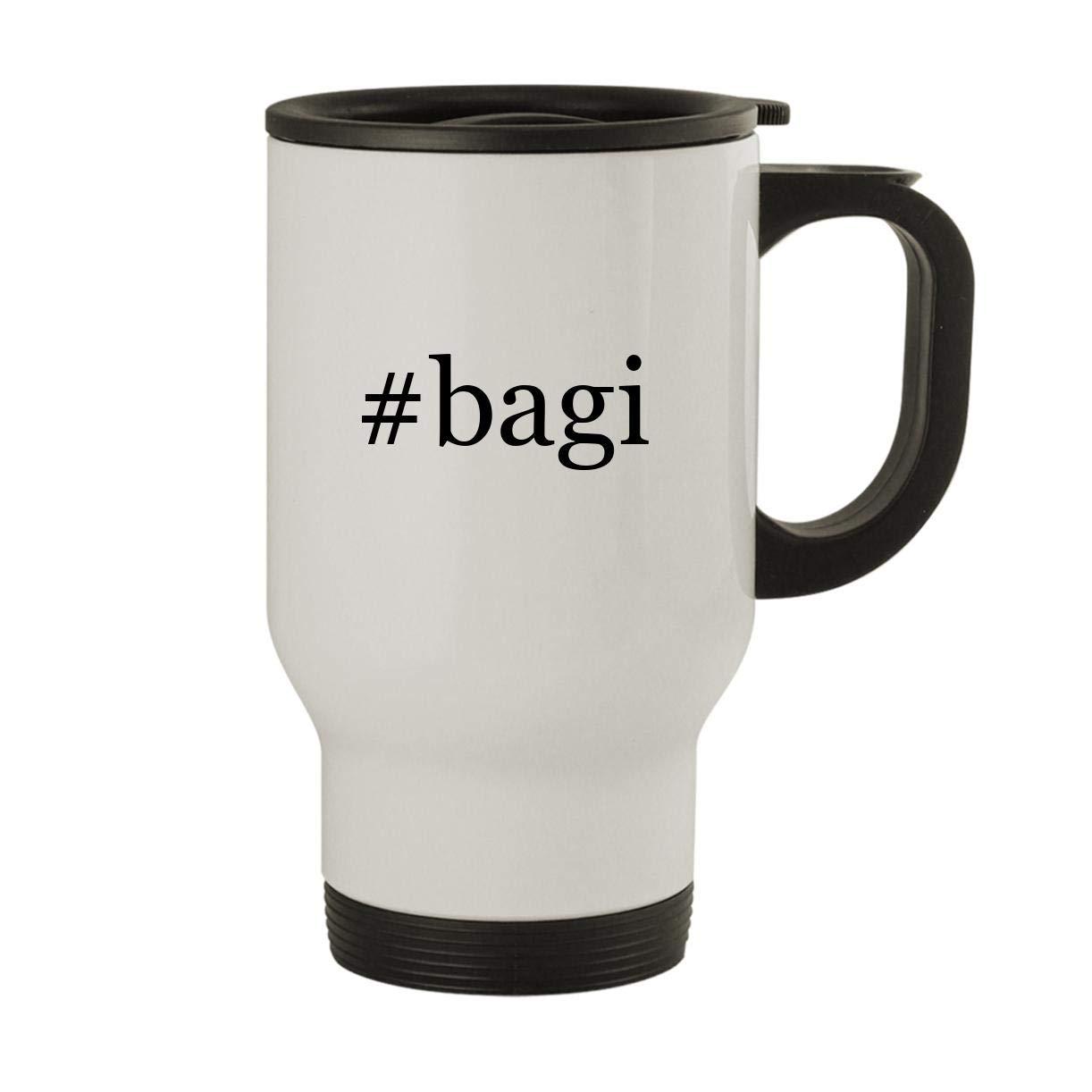 #bagi - Stainless Steel Hashtag 14oz Travel Mug, White