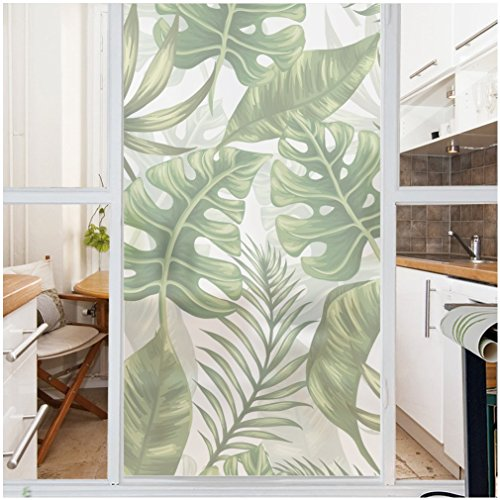 (VANCORE No-Glue Static Illuminative Decorative Privacy Glass Window Film Sticker Anti-UV 45cmx200cm, THICK Natural Leaves Pattern for Home Kitchen Office)