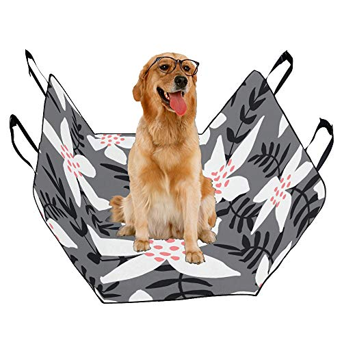 JTMOVING Fashion Oxford Pet Car Seat Poinsettia Hand-Painted Flowers Waterproof Nonslip Canine Pet Dog Bed Hammock Convertible for Cars Trucks SUV