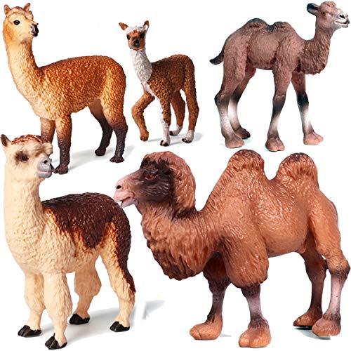 Kolobok - Safari Animals Action Figures - Llamas Alpaca Bactrian Camels - Zoo Animals - 5 pcs Set
