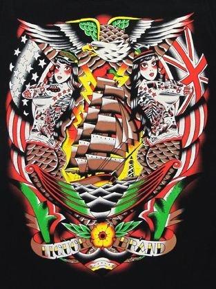 Liquor Brand Sirene Sea Eagle Schiff T-Shirt Bunte Union Jack Alternative Style - Offiziell lizenzierte