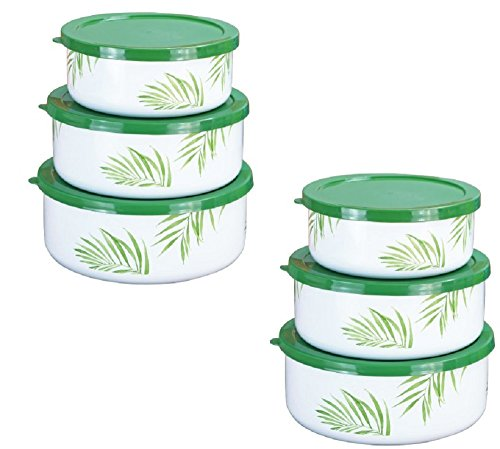 Corelle Coordinates 6-Piece Enamel on Steel Bowl Set, Bamboo Leaf (Set of 2) Corelle Coordinates Bamboo Leaf