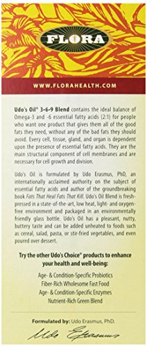 Udo's Choice Organic Omega 3-6-9 Oil Blend 32 Oz - Great Vegan Alternative To Fish Oil - Natural & Plant Based Unrefined Oil With Flax, Evening Primrose, Coconut, Sunflower & More - Made In the USA 5 <p>Flora Udo's choice oil, 3-6-9 blend, 32 ounce Vegan Omega 3 alternative to fish oil - udo's oil is a fantastic Vegan alternative to fish oil providing lots of Omega 3, 6, and 9. No fishy aftertaste, and no heavy metal or toxins to worry about! An extremely Pure plant based oil Made right here in the USA in our certified organic process. One of the highest quality products you can buy and our awards speak for themselves! Award winning blend - Better Nutrition's best of supplements Award winner and Alive retail & consumer choice Gold Award. Udo's oil is a mix of plant-based, unrefined, Certified Organic food oils. A reliable, undamaged source of polyunsaturated Omega-3 and -6 essential fatty acids (or EFAs) and Monounsaturated omega-9 fatty acids Plant based & Organic - 100% plant-based Omega-3 -6, and -9 oils from flax, sesame, and sunflower seeds, some organic MCTs from coconut oil, evening primrose, and more Ideal ratio - udo's oil has been used for decades because it provides the ideal ratio balance of 2: 1 Omega-3 to omega-6. Improves stamina, decreases recovery time, and speeds up the healing of injuries. Used by athletes all over the world. Versatile & Easy to use - the pleasant, nutty, buttery flavor of this oil is a great addition to all types of recipes. Just remember not to heat the oil. Try it in smoothies, shakes, soup (after cooking), steam vegetables, pasta, salad, and more!</p>