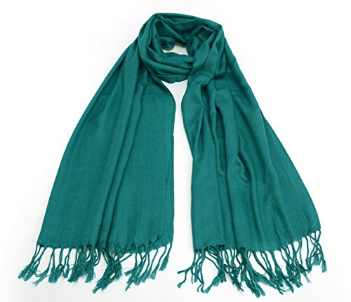 REINDEER Priemium Solid Color Pashmina Cashmere Thick Soft Silk Wool Scarf Wrap Shawl US Seller (Teal) (Thick Scarf Silk)