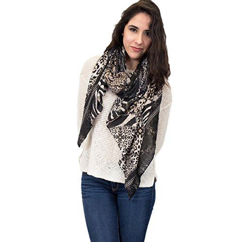 Animal Print Zebra and Leopard Spotted Scarf (Black)