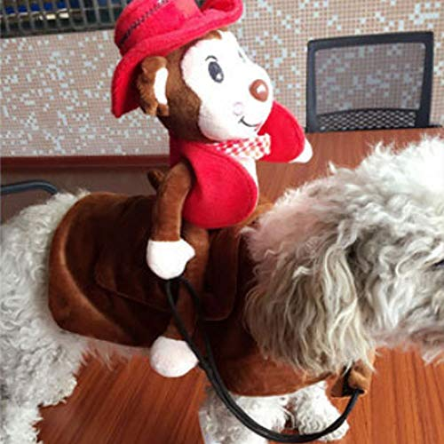 MOONSHOP Pet Christmas Costume Riding Horse Cloths Novelty Funny Halloween Pet Dogs Clothes Clown Monkey Clothing Suitable for Big Dogs Puppies (L, Red)]()