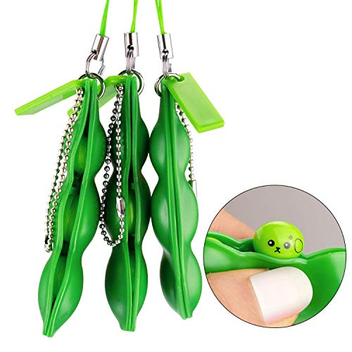 Rub Edamame - Anpole Fidget Bean Toy,3 Pack Squeeze-a-Bean Puchi Puti Mugen Edamame Keychain Keyring Extrusion Bean Pea Soybean Stress Relieving Chain Toys (3 pcs)