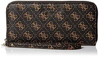 GUESS Logo Rock Large Zip Around Wallet, Brown