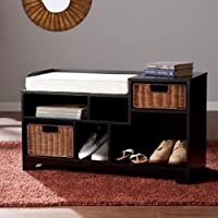 Southern Enterprises Wixshire Asymmetrical Storage Bench in Black