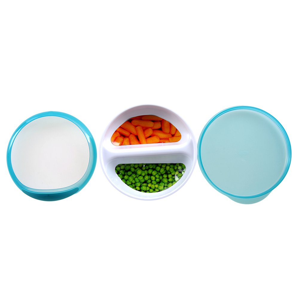 OXO Tot Divided Feeding Dish With Removable Ring And Storage Lid Teal