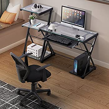 Amazon Com Glass Computer Desk With Keyboard Tray