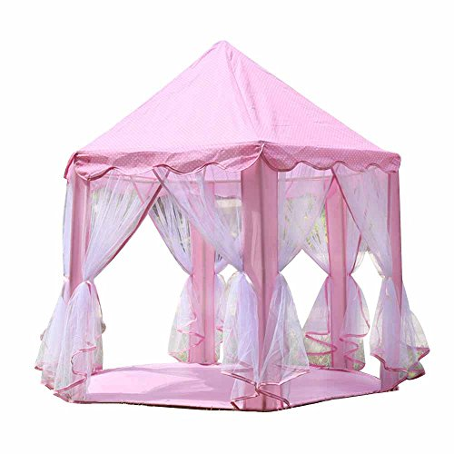 COFFLED Pink Castle Play Tent for Kids Indoor& Outdoor Activities, Playhouse with 50 PCS Star Led Light for Kids¡¯ Room Decoration