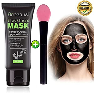 Auperwel Black Mask, Blackhead Remover Mask, Activated Charcoal Face Mask Peel Off Mask Deep Cleaning Facial Mask Nose Mud Mask Pore Cleaner for Acne Blemishes Whitehead with Free Brush