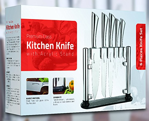 Premium Class Stainless Steel Kitchen 6 Piece Knives Set (5 Knives plus an Acrylic Stand) - by Utopia Kitchen 2 Made from 420 grade stainless steel Includes 8-inch chef knife with 2.5 mm blade thickness; 8-inch bread knife with 2.5 mm blade thickness; 8-inch carving knife with 2.5 mm blade thickness; 5-inch utility knife with 2.5 mm blade thickness; 3.5-inchparing knife with 2 mm blade thickness and an acrylic stand for convenient storing of the knives These knives are a solid one piece stainless steel design so you don't have to worry about handles falling off