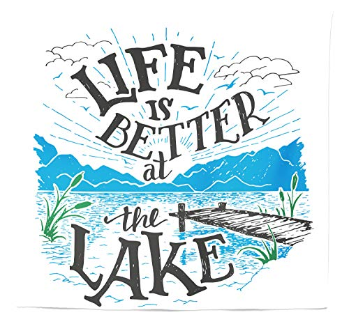 Lunarable Cabin Tapestry Queen Size, Life is Better at The Lake Wooden Pier Plants Mountains Sketch Art, Wall Hanging Bedspread Bed Cover Wall Decor, 88 W X 88 L Inches, Blue Jade Green Charcoal Grey