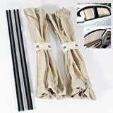 ModifyStreet VIP Beige Mesh Interior Window Curtain Adjustable UV Protection Visor 50cm 2 Pieces