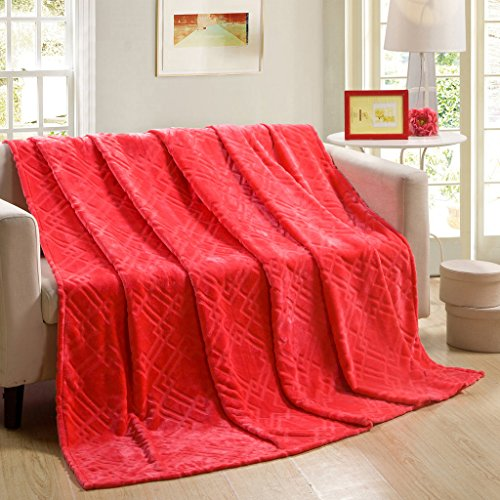 ChezMax Bedding Extra Soft Coral Fleece Blanket Lightweight Thickening Throw/Bed Blanket Pure Color Blanket Watermelon Red (Sand Microfiber Sofa)