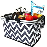 Search : Large Insulated Picnic Basket Cooler | 9 Gal Capacity Leakproof Folding Collapsible Portable Market Basket Bag Set Aluminum Handles for Travel, Shopping & Camping | Keeps Wine, Food & Drinks Fresh