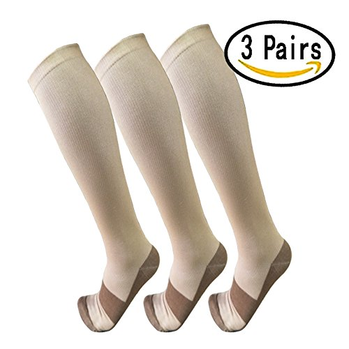 Copper Compression Socks For Men & Women(3 Pairs)- Best For Running,Athletic,Medical,Pregnancy and Travel -15-20mmHg (L/XL, Nude)